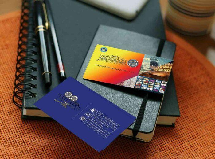 ビデオグラフィ・ビジネスカード・モックアップ・サンプル写真