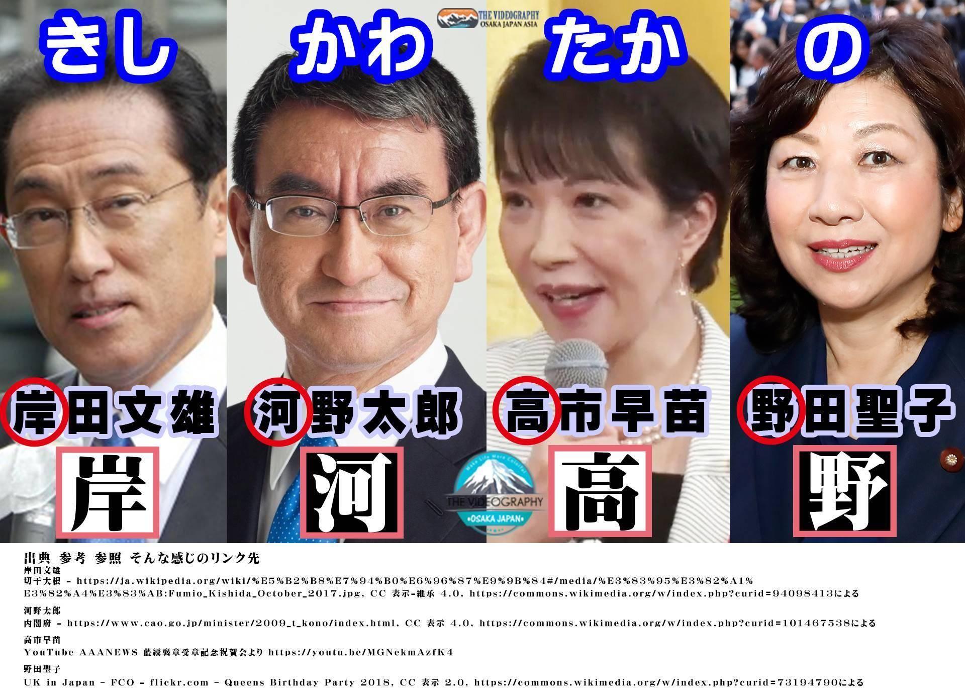「岸河高野」 自民党総裁選 立候補者