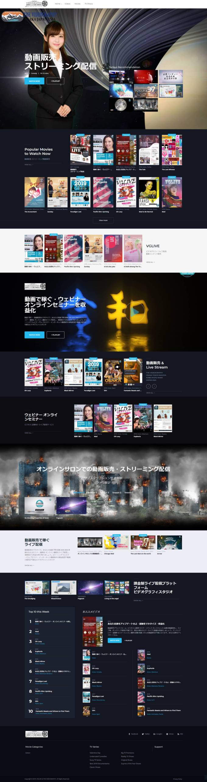 課金制ライブ配信プラットフォーム・ビデオグラフィスタジオ